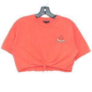 TOPSHOP Top Shirt Cropped Tie Front Watermelon BU